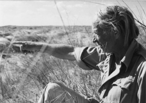Laurens Van der Post in the Kalahari desert.